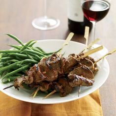 Addictively tangy and salty-sweet, these skewers are also delicious when made with chicken breast or pork tenderloin. Recipe: Grilled Beef-Tenderloin Skewers with Red-Miso Glaze Skewer Recipes, Chef Recipes, Grilling Recipes, Wine Recipes, Great Recipes, Cooking Recipes, Favorite Recipes, Easy Recipes, Pork Recipes