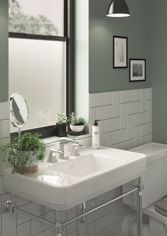 Dulux has revealed its Colour of the Year Tranquil Dawn! If you want to create a sense of calm in your bathroom, consider introducing a muted green tone to your space. Green Bathroom Paint, Green Bathroom Colors, Bathroom Color Schemes, Dulux Green Paint, Green Bathrooms, Small Bathrooms, Tranquil Bathroom, Small Toilet Room, Modern Bathroom Design
