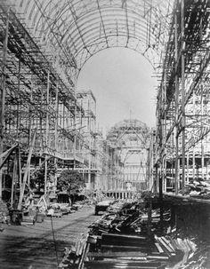 Crystal Palace being rebuilt in 1854
