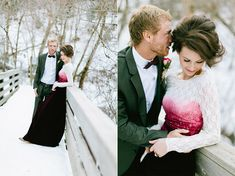 Even though her dress is pretty but flesh wound style, I love the unique take and the hair and makeup is great!  Magical Valentine's Love Shoot In The Snow | Bridal Musings | A Chic and Unique Wedding Blog