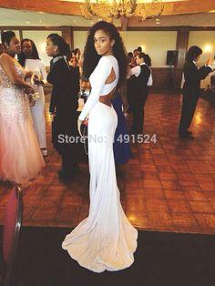 95721cd8dea Купить товар 2015 новый разработанный элегантные длинные русалка пром платья  с длинными рукавами спинки длиной до