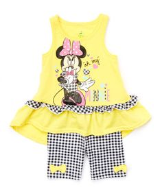 Love this Yellow & Black Gingham Tank & Shorts - Infant & Girls by Minnie Mouse on #zulily! #zulilyfinds