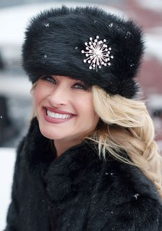 Black Fox Faux Fur Russian Hat