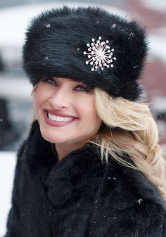 Black Fox Faux Fur Russian Hat   Fabulous-Furs