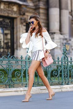 the mysterious girl blogger top shorts bag jewels sunglasses