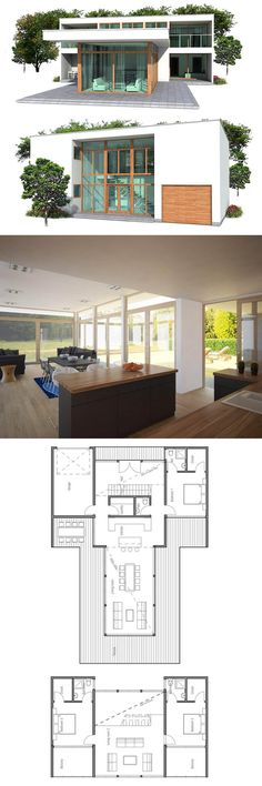 Planta de Casa. I don't like the modern look, but the floor plan is interesting.