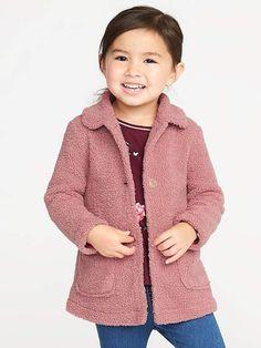8e855ca7b Bouclé-Sherpa Coat for Toddler Girls