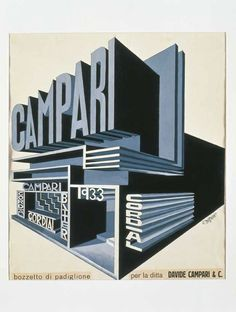 Who is the author of the work:Fortunato Depero Name of the work: Campari Pavilion When was the work Between 1925 and Fortunato Depero churned out a huge number of advertisement sketches for Campari Illustration Inspiration, Typography Inspiration, Graphic Design Illustration, Graphic Design Inspiration, Typography Design, Vintage Advertisements, Vintage Ads, Vintage Posters, Vintage Graphic
