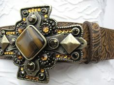 Rusty Spur Couture Leatherock Safari Floral Leather Belt w/ Tiger Eye Bronze Buckle - LG7663, ,