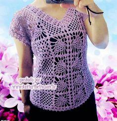 Blusa em Crochê Lilás com Pap e Gráfico - Katia Ribeiro Moda e Decoração…