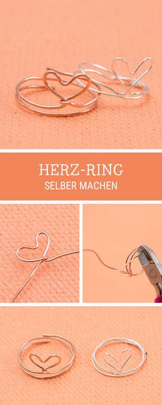 Schmuck-DIY: Ring aus Draht in Herz-Form selbermachen / jewellery diy: heart shaped ring made of wire via DaWanda.com