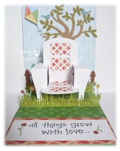 Caz Counsell makes a lovely garden-themed Pop 'n Cuts card using the Chair insert. A STAMPING & CHIRPING Corner: In the garden