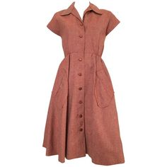 dress Dior Button Up Dress with Pockets Size 1 Pink And Red Dress, Vintage Red Dress, Vintage Dresses, Vintage Clothing, Vintage Style, Dress Png, Look Fashion, Fashion Outfits, Dress Fashion