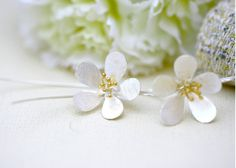 Millingtonia hortensis Flower silver matte earrings 925 sterling silver