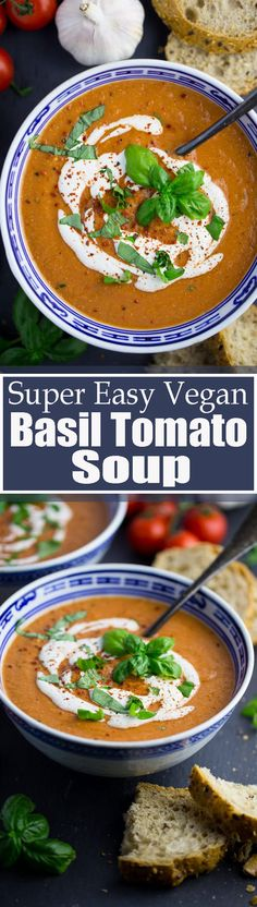 This vegan basil tomato soup is the perfect vegan dinner when you feel like having a comforting meal but don't have much time. It's super easy to make (you only need 10 minutes), it's packed with flavor, and it's SO creamy! Find more vegan recipes at veganheaven.org <3