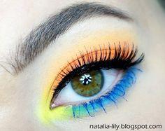 natalia-lily: Beauty Blog: Makijaż niecodzienny: Oko pomarańczowo-żółto-niebieskie, a usta fuksjowo-malinowe (krok po kroku)