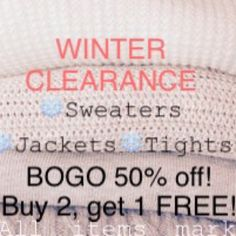 ❄️WINTER CLEARANCE!❄️ All items in my closet marked with a ❄️snowflake❄️ are eligible for the Winter Clearance! Buy one item and get another item 50% off! Buy two items, and get one FREE! (Excludes North Face.) Sweaters
