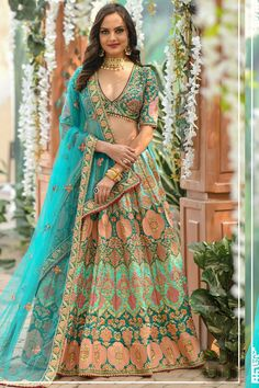 Designer Bridal Lehenga, Bridal Lehenga Choli, Indian Lehenga, Silk Lehenga, Silk Dupatta, Silk Sarees, Green Lehenga, Party Wear Lehenga, Lehenga Choli Online