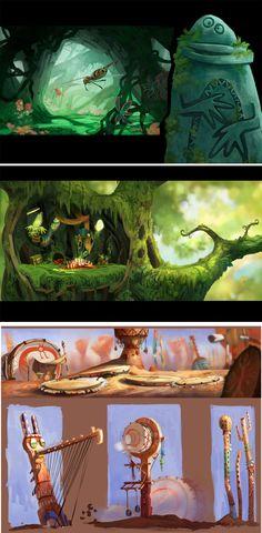 Mais concept arts de Rayman Origins, por Floriane Marchix | THECAB - The Concept Art Blog via PinCG.com