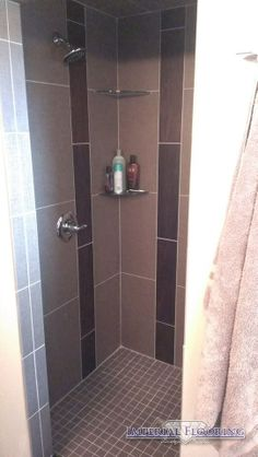 Shower Tile with Wood Accent tile