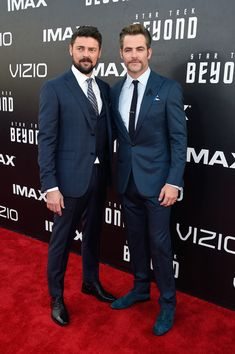 """Karl Urban Photos - Actors Karl Urban (L) and Chris Pine attend the world premiere of the Paramount Pictures title """"Star Trek Beyond"""" at Embarcadero Marina Park South on July 20, 2016 in San Diego, California. - 'Star Trek Beyond' World Premiere"""