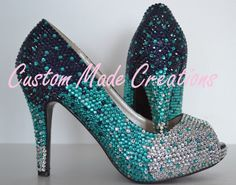 http://www.custommadecreations.com.au/collections/crystal-pearl-heels/products/rebecca-crystal-heels Shown in a 4 inch heel peep toe shoe with crystal colours 9, 29 & 32