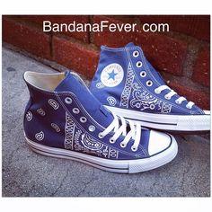 9b8198c1ac8574 Bandana Fever White Bandana Print Custom Navy Converse High Top Shoes. Navy  Converse High TopsConverse All StarCustom SneakersCustom ...