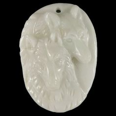 BH07208# 100% Natural  Hand Carved  Gemstone Double Wolf head  Wild animal White Agate  Pendant Men Bead 1 Pcs