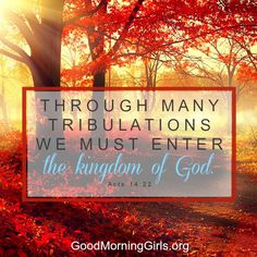 Through many tribulations we must enter the kingdom of God. Acts 14:22