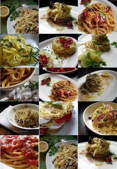 Collage foto e ricette - pasta - spaghetti