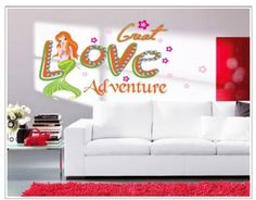 YYone Great Love Adventure Quote Mermaid Wall Sticker Mural Art Room Decor  Wall Stickers Murals,