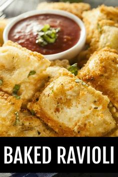 This easy recipe uses frozen ravioli dipped in Italian breadcrumbs and baked to golden, crisp perfection. A new appetizer favorite for sure! Italian Appetizers, Appetizer Recipes, Cold Appetizers, Frozen Ravioli Recipes, Ravioli Bake, Baked Ravioli, Ravioli Lasagna, Quick Recipes, Kitchens