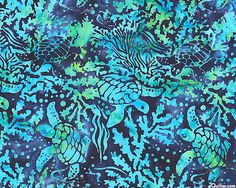 Turtle Island Batik - Turquoise - Quilt Fabrics from www.eQuilter.com