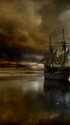 Sailboat, tall ship, double mast, brown, nautical