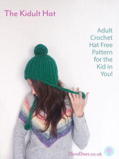 10da91cc580 The Kidult Hat - Free Crochet Pattern! Quick and easy fun crochet hat with  ear