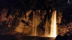 Waterfall by night jeju island