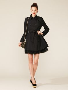 RED Valentino   Faille Tulle Skirt Trench
