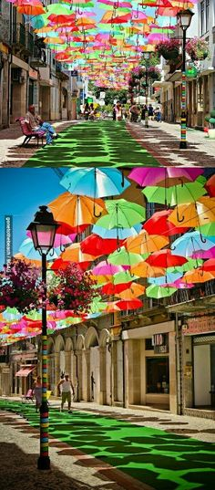 Umbrellas street. Portugal