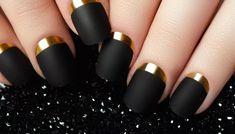 8 Beautiful Nail Art Inspiration – The Value Place 8 nail designs - Nail Desing Matte Black Nails, Matte Nail Polish, Black Nail Art, Gold Nails, Cute Simple Nails, Easy Nails, Easy Nail Art, Perfect Nails, Nail Art Cute