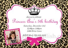 Printable Personalized Leopard Princess Birthday by Detailish, $14.00