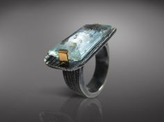 Susana Schnaider / One of a Kind Jewelry / Aquamarine, Fine silver and 14k gold Ring