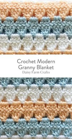 This is a free pattern for a crochet modern granny blanket. As I made this crochet modern granny blanket, I felt like I was creating a series of triangles nestled in between each other which to me, gave the blanket a modern feel. Granny Square Crochet Pattern, Afghan Crochet Patterns, Crochet Squares, Crochet Afghans, Crochet Granny, Crochet Stitches, Crochet Hooks, Crochet Baby, Free Crochet