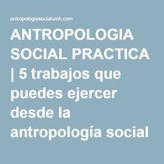 ANTROPOLOGIA SOCIAL PRACTICA   5 trabajos que puedes ejercer desde la antropología social