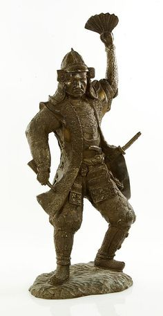 """Bronze statue, Japan, of a samurai holding a fan, 21""""h. Provenance: From a NH estate."""