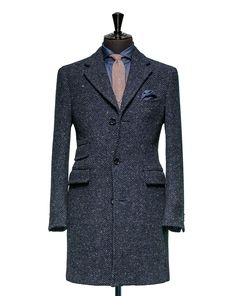 Tailored Coat – Fabric OCS0015 Herringbone Blue Cloth weight: 520g Composition 100% Wool