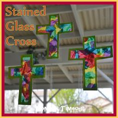 ~~Christian Crafts for kids~~Stained Glass Cross~~ Crafty ideas for home school, education, Sunday school, day care and scouts. glass crafts for kids Stained Glass Cross Craft - Mom On Timeout Vbs Crafts, Camping Crafts, Preschool Crafts, Garden Crafts, Easter Art, Easter Crafts For Kids, Easter Ideas, Kids Church Crafts, Sunday School Crafts For Kids