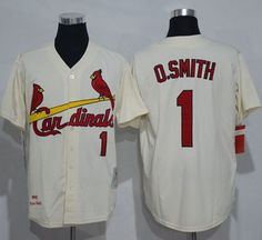 Mitchell And Ness Cardinals #1 Ozzie Smith Cream Throwback Stitched MLB Jersey