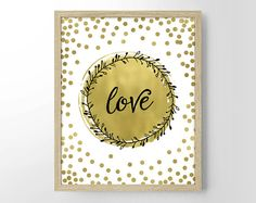 Love Bokeh Painting Faux Gold Foil Home Decor by StayGoldMedia