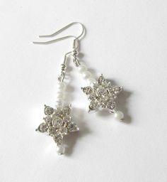 Ohrhänger - Stern-Ohrhänger Strass-Stern Perlen versilbert - ein Designerstück von soschoen bei DaWanda