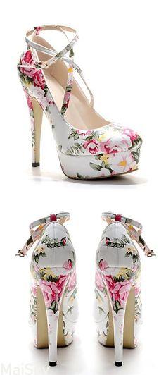Floral Ankle Strap Stilettos